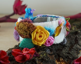 Boho chic textile bracelet