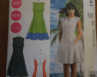 McCalls M6741, sizes vary, misses and womens petite, misses, womens, lined dresses, UNCUT sewing pattern, craft supplies