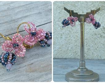 Pink & blue French handmade seed beads beaded beadwork bouquet earrings