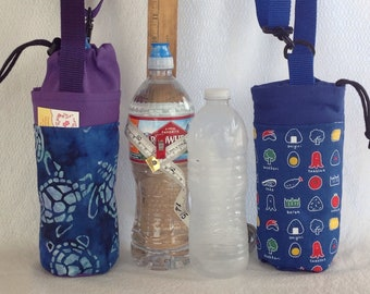 Insulated tote for 16 - 25 oz. (half liter to 750ml) containers sea turtle or sushi