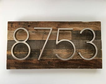 Rustic Address Plaque made from Reclaimed Wood - rustic custom, personalized, house numbers, address sign, cabin, cottage, housewarming gift