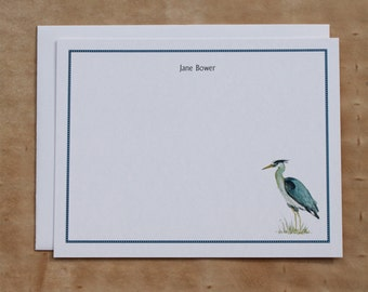 Great Blue Heron Blue Custom Notecard Stationery. Thank You, Any Occasion, Personalize Watercolor Print, Set of 10.