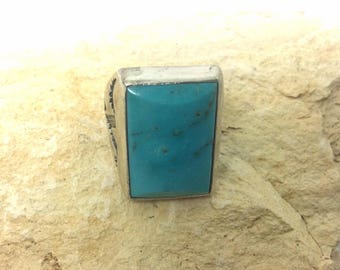 Vintage NOS Sunbell Navajo Turquoise Sterling Mens Ring size 10.5