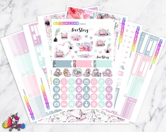 Love Story || Planner Sticker Kit, Love Stickers, Planner Stickers, Planner Kit, Weekly Planner Kit, Typewriter Stickers
