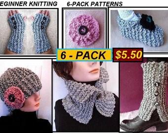 KNITTING PATTERNS, 6 Pattern Pack - Beginner level - Hat, Flower, Cowl, Scarf, Slippers, Fingerless Gloves Arm warmers, Legwarmer Spats