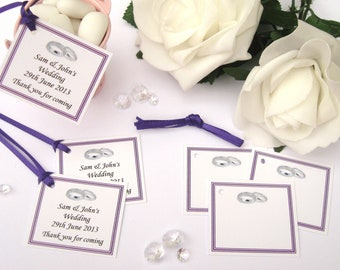 Personalised Wedding Gift Tags - Cadbury Purple - Pack of 10 tags