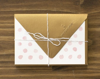 """pink & gold """"hello"""" polka dot note cards"""