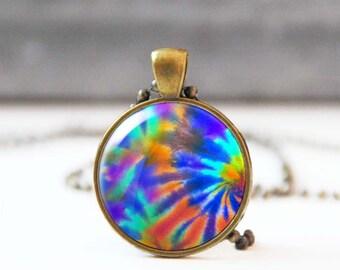 Tie dye necklace, Hippie necklace, 60s retro necklace, Colorful Bohemian Psychedelic necklace, 5059-12