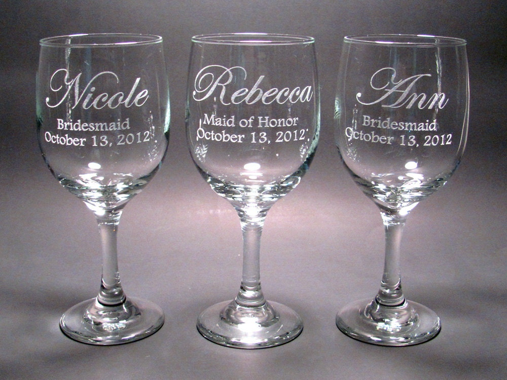 Personalized Bridal Party Wine Glasses SET OF 6