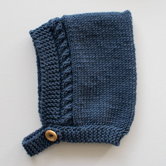 Cable Knit Pixie Hat in Denim Merino Wool - Made to Order