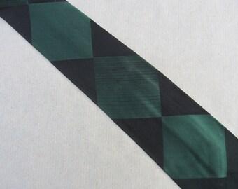 Vintage Silk Necktie A. Sulka Black Green Silk Diamonds 54 x 3