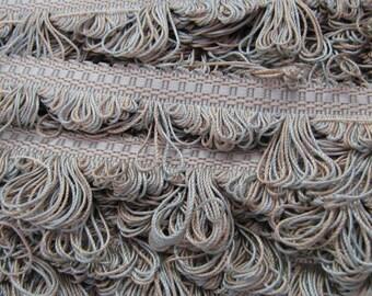 Pale Aqua and Tan Loop Fringe