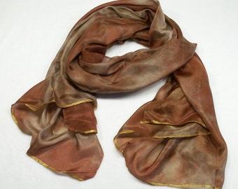 Antique Bronze Buff Brown Alchemy Scarf Veil Hand Dyed  AL-OL1-2014