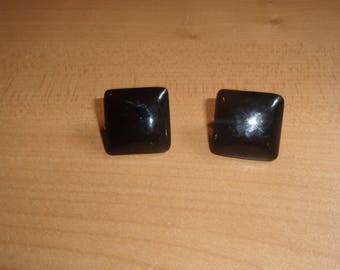 vintage clip on earrings black lucite squares
