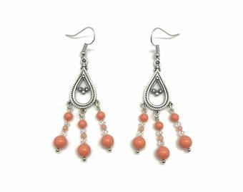 Coral Earrings, Coral Chandelier Earrings, Coral Dangle Earrings, Coral Jewelry, Coral Drop Earrings, Orange Chandelier Earrings, Coral Bead