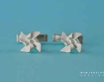 Handfolded Spinnable Sterling Silver Pinwheel Cufflinks