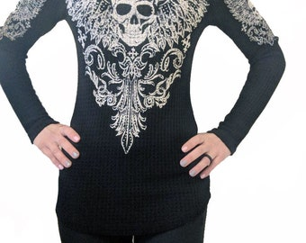 Skull Hoodies, Light Weight Skull Tops, Skull light weight thermal, Skull thermal, Black Skull Hoodie