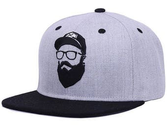 Bearded Man Snapback - Peak adjustable Cap hipster beard glasses Grey black embroidered