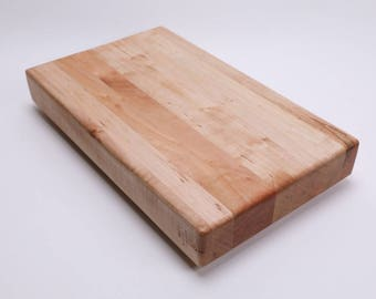 "Edge Grain Maple Wooden Cutting Board #193  15 5/8"" X 8 1/2"" X 2"" medium sized cutting board, maple cutting board, food safe cutting board"