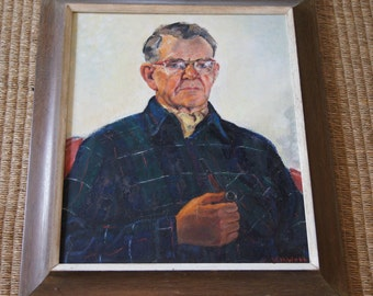 Vintage 1970's - Oil Painting - portrait of an old man with a pipe wearing plaid - wooden frame - 30 x26 - vhwebb