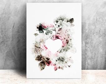 Heart and flowers illustration / print 21 X 29, 7 / Emilie Raguin