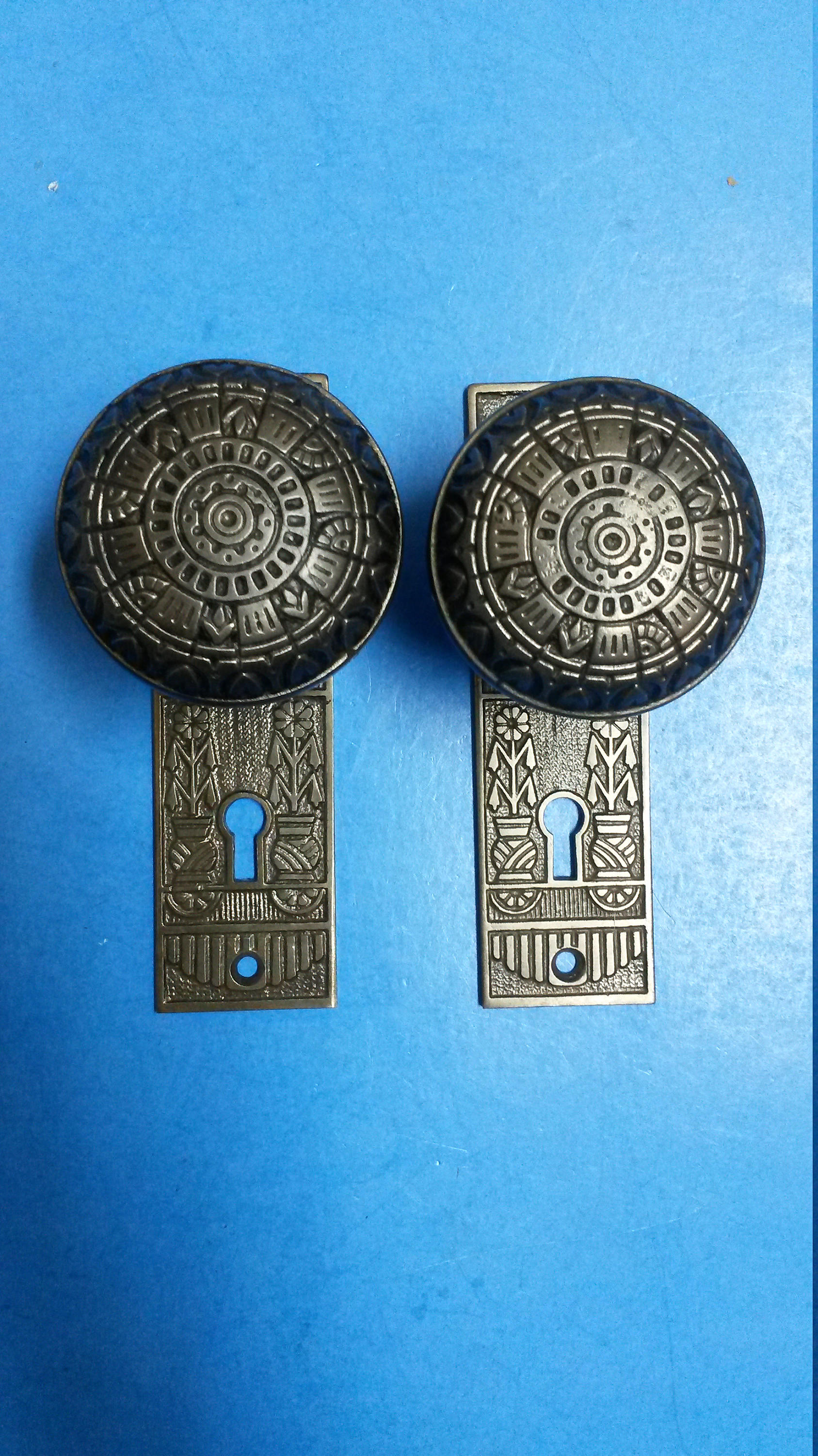 Antique Dummy Door Knobs Eastlake Style Cast Iron with Plate