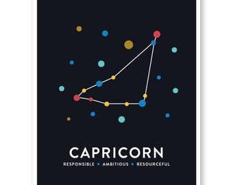 Capricorn Zodiac Print, Constellation Art, Capricorn Astrological Zodiac Star Sign, Modern Art Print, Nursery Art, Star Map