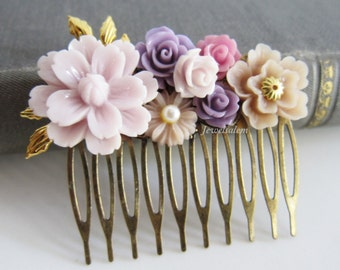 Wedding Hair Comb Lilac Pastel Purple Hair Comb Mauve Orchid Romantic Bridal Comb Rustic Garden Wedding Bridesmaids Gift