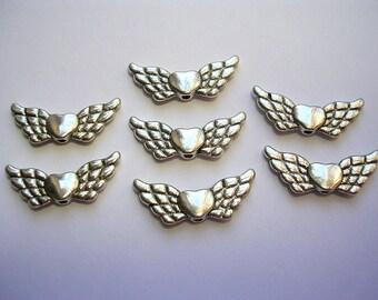 Antiqued Silver Angel Wings Silver Scrolled Wings Guardian Angels 25 Wings Angel Heart Charms Metal Wing Pendant Spacers Fly Away Cherub