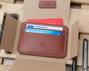 Handmade Leather wallet - front pocket wallet slim small