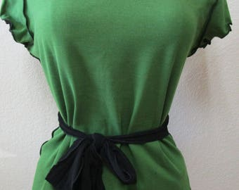Green color tank top with black belt and black color mesh neck decoration plus made in USA  (V160)