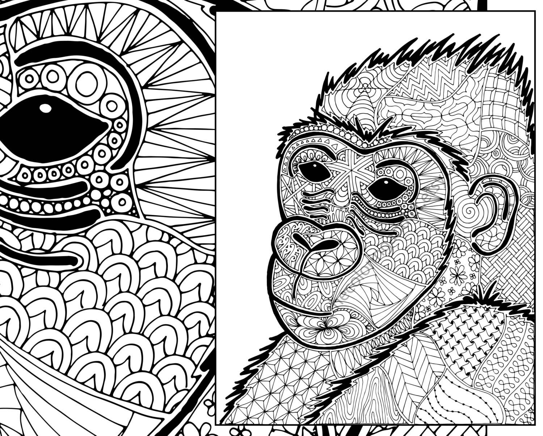 gorilla coloring sheet animal coloring pdf zentangle