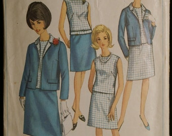 Simplicity 6891 Misses Jacket, Blouse and Skirt Vintage 60s Sewing Pattern Sz 14, 18, 42
