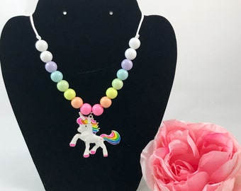 Rainbow Unicorn Toddler or Child's Beaded Necklace - Rainbow, Magical Jewelry