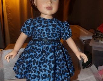 Blue Leopard print full dress for 18 inch Dolls - ag236