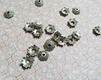 8mm Bead Caps Antiqued Silver Wholesale Bead Caps 200 pieces Bulk Findings