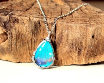 Blue Morpho Butterfly Necklace, Real Butterfly Jewelry, Blue Butterfly, Teardrop Necklace