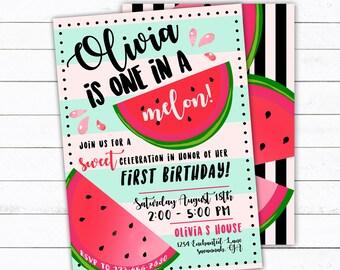 Watermelon Birthday Invitation, One In A Melon Invite, Kids Birthday Invite, First Birthday Invite, Watermelon Birthday, Watermelon Party