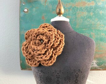 The Wallflower Brooch in chocolate brown - Crocheted Flower Pin as Seen on The Uniform Project