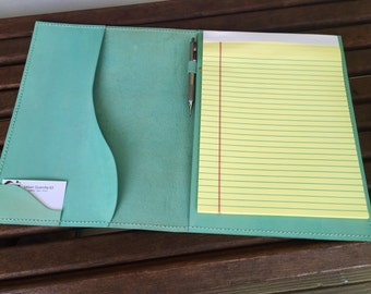 Leather A4 Portfolio* Teal Leather Portfolio* Legal Pad* Legal Pad Cover* Leather Portfoio* Business Writing Pad* Handmade in the USA