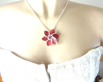 Red Metal Flower Necklace Made From Dragon Scales