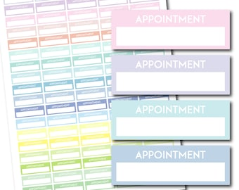Printable appointment stickers, Pastel stickers, Planner header stickers, Appointment header digital stickers, STI-1073