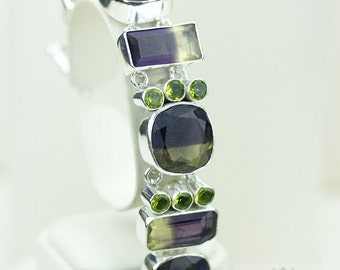 Awesome Stuff! Bi-Lemon Topaz Peridot 925 S0LID Sterling Silver Bracelet & FREE Worldwide Express Shipping B682