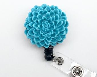 Handmade Blue Resin Chrysanthemum Cabochon Alligator Swivel Clip Retractable ID Badge Reel / Name Badges / ID Badge Holder Great Gift