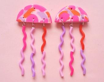 jellyfish earrings - neon pink, orange, pink, purple