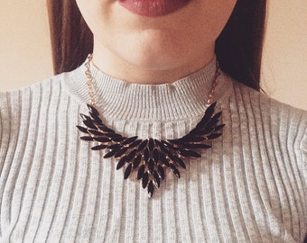Black Statement Necklace, Black & Gold Feather Necklace, Black Feather Bib Necklace