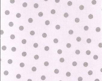 Oilcloth By The Yard Dot Silver Fabric