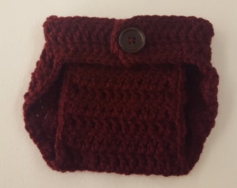 Crochet Baby Boy Baby Girl Diaper Cover, Photography Prop, Size Newborn and Infant – Burgundy
