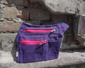 Purple Hip Bag Waxed Canvas, Travel Belt Pouch, Festival Bag, Purple  Fanny Pack, Waist PAck, Hip Pack