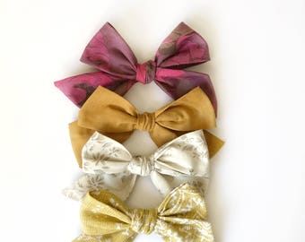 Oversized Fall schoolgirl bows/ Girl bows/ Large Schoolgirl Bows/ Fabric Bow Headband/ Hair Bows for Girls